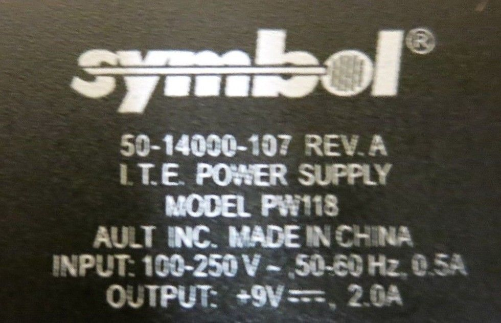 Symbol PW118 50-14000-107 Barcode Scanner AC Power Adapter Charger 18W 9V 2A